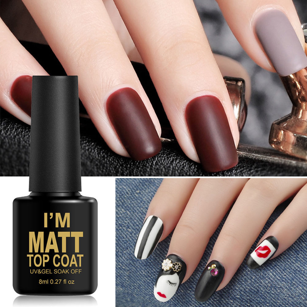 Details About 8ml Matte Top Coat Nail Gel Polish Matt Nail Art Tips Set Coat Manicure Supplies