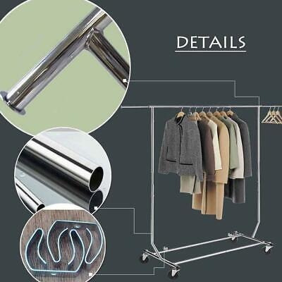 60 Commercial Chrome Single Rail Clothing Garment Rolling Rack Hanger Cart