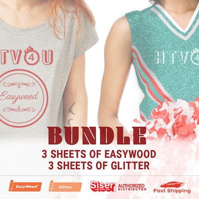 Siser Bundle - 3 Sheets (15 x 12) of EasyWeed & 3 Sheets (20 x 12) of Glitter