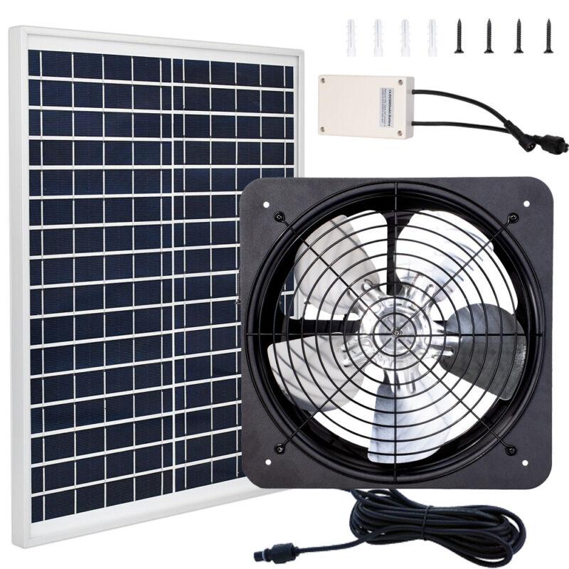 3000CFM Greenhouse Ventilation Vent Fan Extractor Kit Battery & Solar Panel