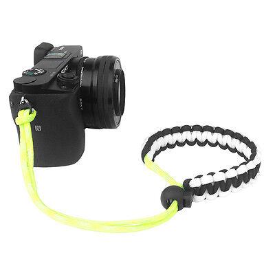 Black/White/Yellow Braided 550 Paracord Adjustable Camera Wrist Strap Bracelet Black & White Camera