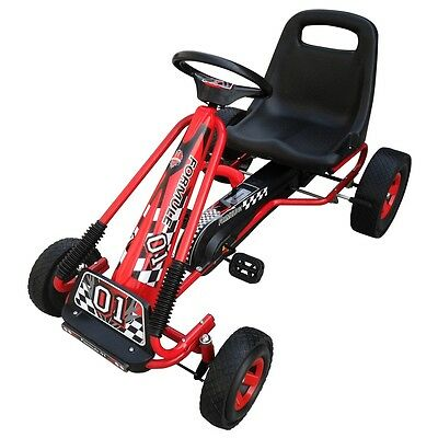 #b Red Pedal Go-Kart Ride-On Car Kids & Junior Adjustable Seat Rubber Tires
