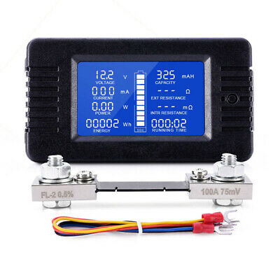 Dc 0-200v Voltage Solar Power Meter Multifunction Battery Tester Monitor 100a