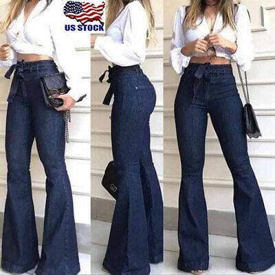 Womens High Waist Denim Bell Bottom Ladies Stretch Jeans Wide Leg Pants Trousers High Waist Wide Leg