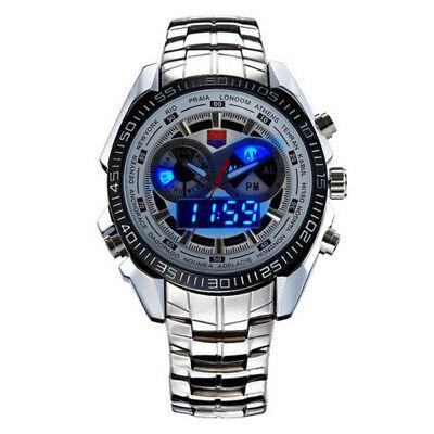 Tvg Multifunction Mens Sports Watch Stainless Steel Digital Analog Quartz Watch