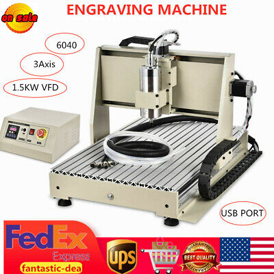Usb 3 Axis 1.5kw 6040 Router Engraver Wood Pcb Drillmilling Machine Ball Screws