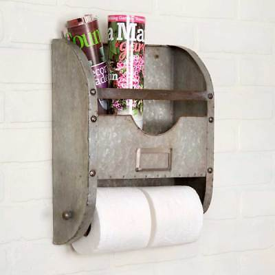 Metal Nameplate Bathroom Caddy - Toilet Paper Towel Holder - Barn Roof Gray