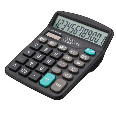 Solar Power Desktop Calculator Basic Business Office Home Large Display 12-Digit