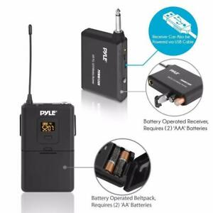 PYLE PDWM12UH Wireless Microphone System, Beltpack Transmitter w/Headset & Lavalier Mics