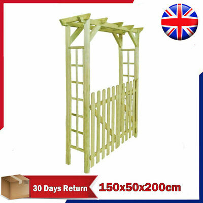 Wooden Arbour Rose Arch Garden Gate Trellis with Door Garden Decor 150x50x200 cm