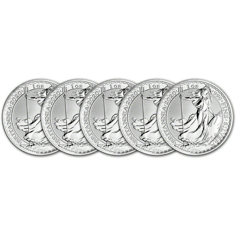 2020 Great Britain Silver Britannia £2 - 1 oz - BU - Five 5 Coins