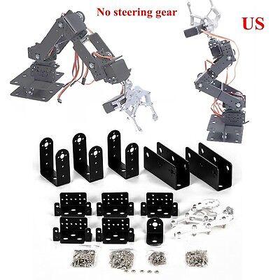Us Black 1 Set 6 Dof Aluminium Mechanical Robotic Arm Clamp Claw Mount Robot Kit