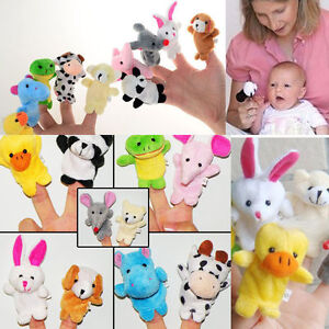 Zoo 10pcs Kinds Farm Animal Plush Hand Puppets Finger Soft Toy For Baby Children