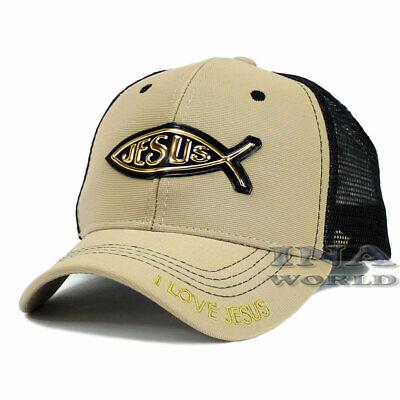 JESUS FISH Christian hat Gold Patched Pique Mesh Snapback Baseball cap- Khaki Polyester Pique Mesh
