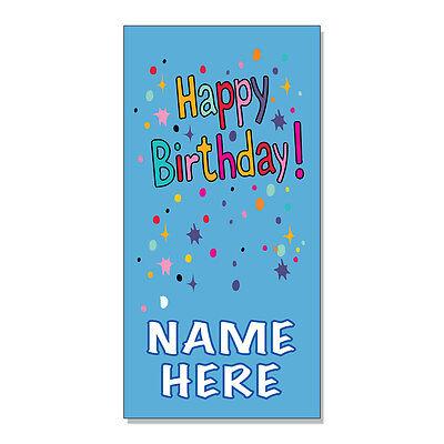 Happy Birthday Custom Name Blue  DECAL STICKER Retail Store Sign (Custom Birthday Signs)