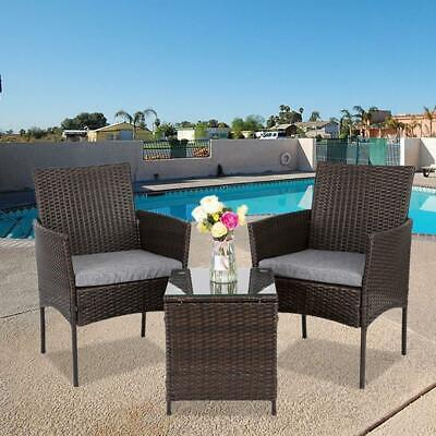 IN/Outdoor Furniture Patio Set Wicker Rattan Conversation Set Chairs Table 3pcs