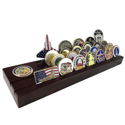Wooden Challenge Coin Display Rack Four Rows Featured with Slot & A Gift Coin Row Challenge Coin Rack