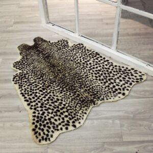 Animal Printed Leopard Zebra Cow Hide Faux Fur Rug Carpet Blanket Mat Washable