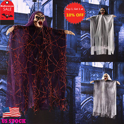 US Animated Hanging Grim Reaper Skull Shackles Chain Halloween Decoration Props