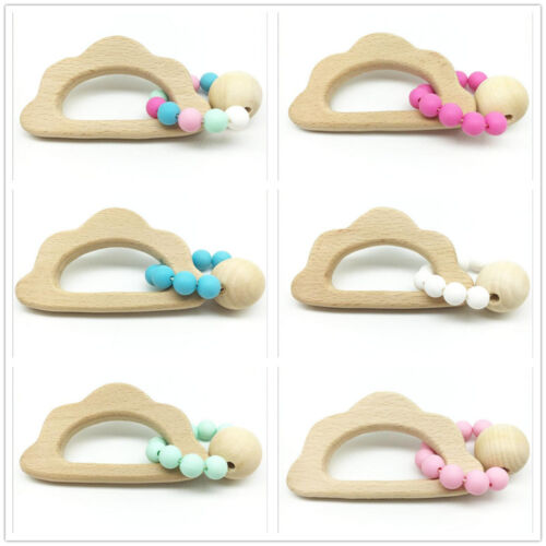1pcs Safety Wooden Teether animal shape Silicone Beaded Baby Molar Stick Toy