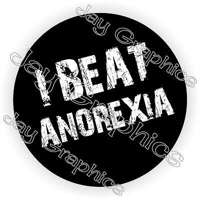 I Beat Anorexia Hard Hat Sticker Decal Funny Label Helmet Construction Laborer