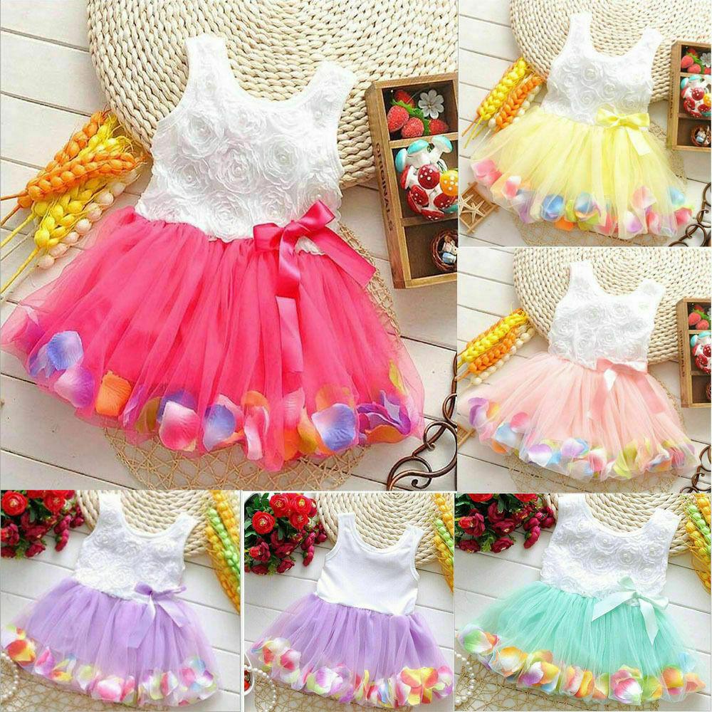 Toddler Baby Kids Girls Princess Party Tutu Lace bowknot Flo
