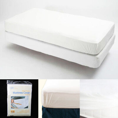 Waterproof Fitted Mattress Protector - King Size Fitted Mattress Cover Vinyl Waterproof Bug Allergy Protector Bed New !