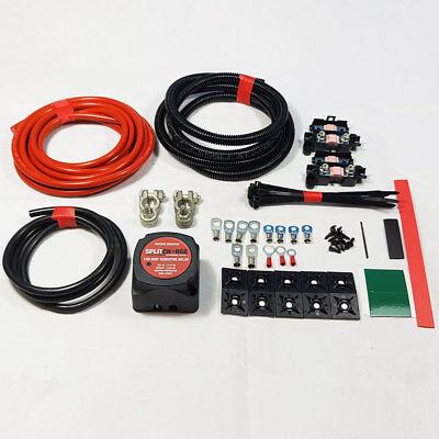 (Split Charge Relay Kit 4mtr Professional 12v 140amp Voltage Sensitive Heavy Duty)