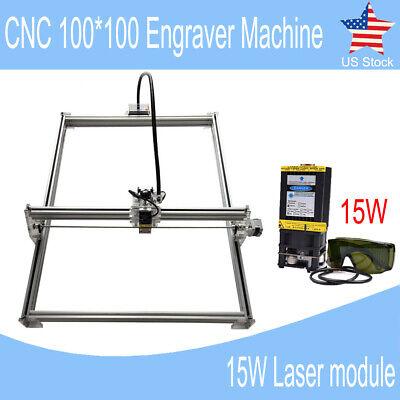Mini Cnc 100100 Router Kit 15w Laser Module Wood Carving Engraving Diy Machine