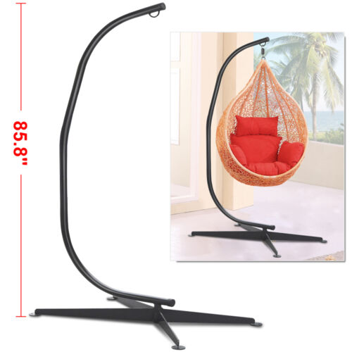 Black Solid Steel C Frame Chair Hammock Stand Construction
