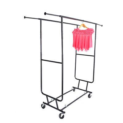 Rolling Clothes Garment Bar Rail Rack Shelf Hanger Organizer Stand Heavy Duty