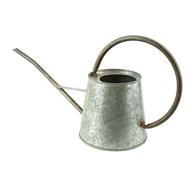 Small Metal Watering Can, Gray, 16-Inch