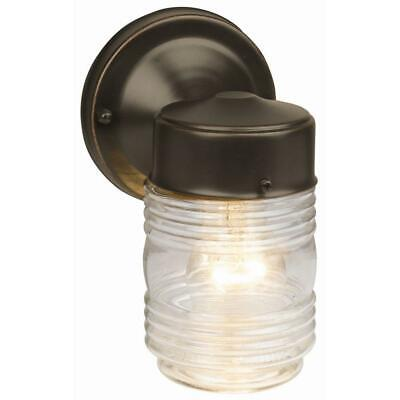 Design House Oil-Rubbed Bronze Outdoor Wall-Mount Jelly Jar Wall Light Design House Jelly Jar