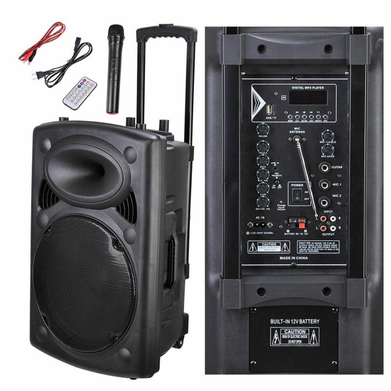 """1500W Portable Remote 15"""" PA Active Speaker Mic Guitar AMP Bluetooth USB SD LCD"""