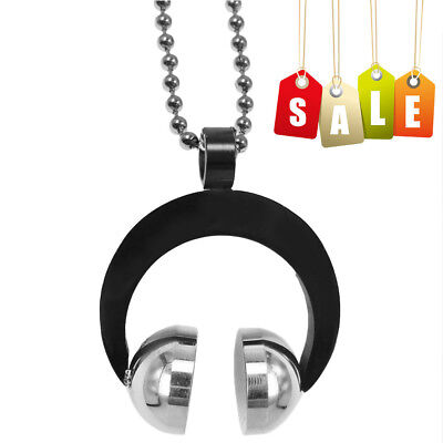 Mens Best DJ Headphone Pendant Charm Necklace Stainless Steel Chain Punk (Best Dj Headphone)
