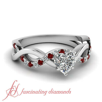 1 Ct Heart Shaped Diamond & Red Ruby Pave Set Engagement Ring Solid 14K Gold GIA