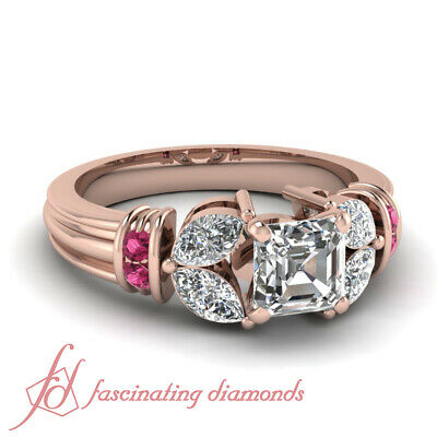 1.40 Ct Diamond Rings With Center Natural Asscher Cut With Pink Sapphire 14K GIA