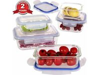 NEW Boxed - Set of 5 Glass Food Storage Containers * Oven, Microwave, Freezer and Dishwasher safe