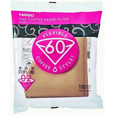 New Hario Coffee Paper Filter Brown VCF-02-100M 100 sheets V60 1-4 Japan import