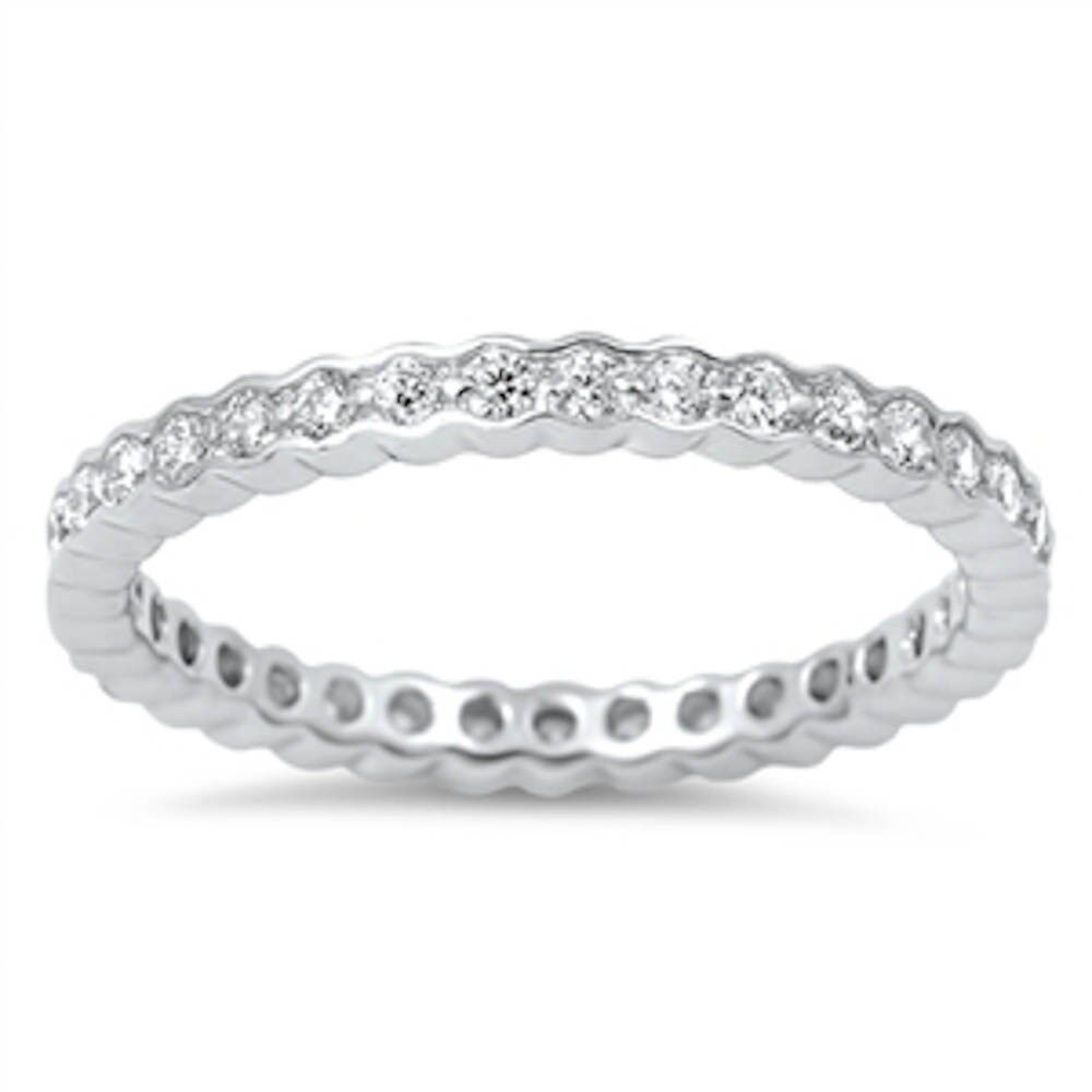 Bezel Design Cubic Zirconia Eternity Band .925 Sterling Silver Ring Sizes 5-10
