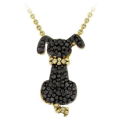 Gold on 925 Silver Black Diamond Accent Puppy Dog Necklace, 18