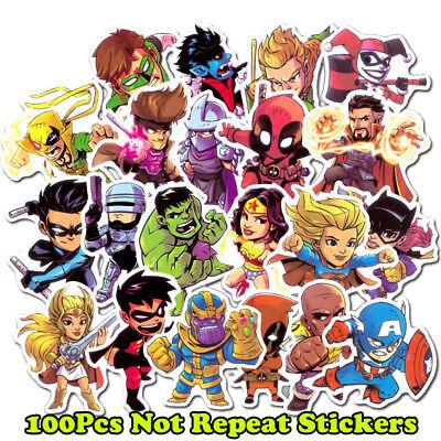 100Pcs Superhero Spiderman Batman Superman Hulk Kids Stickers For Luggage Laptop - Superman For Kids