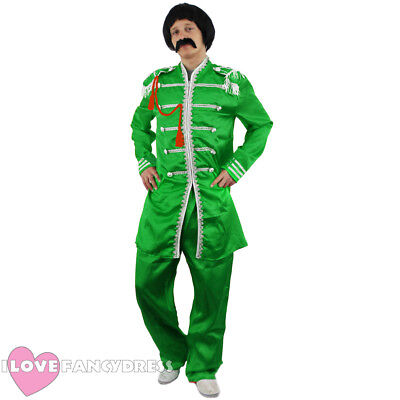 GREEN 1960'S POP SERGEANT PEPPER COSTUME MUSIC ICON HIPPY FANCY DRESS 60S THEME