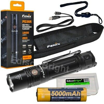 Fenix PD36R 1600 lumen EDC LED USB rechargeable tactical flashlight w/ battery