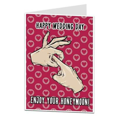 Funny Rude Happy Wedding Day Card Bride Groom New Mr & Mrs Best (Happy Best Friend Day Funny)