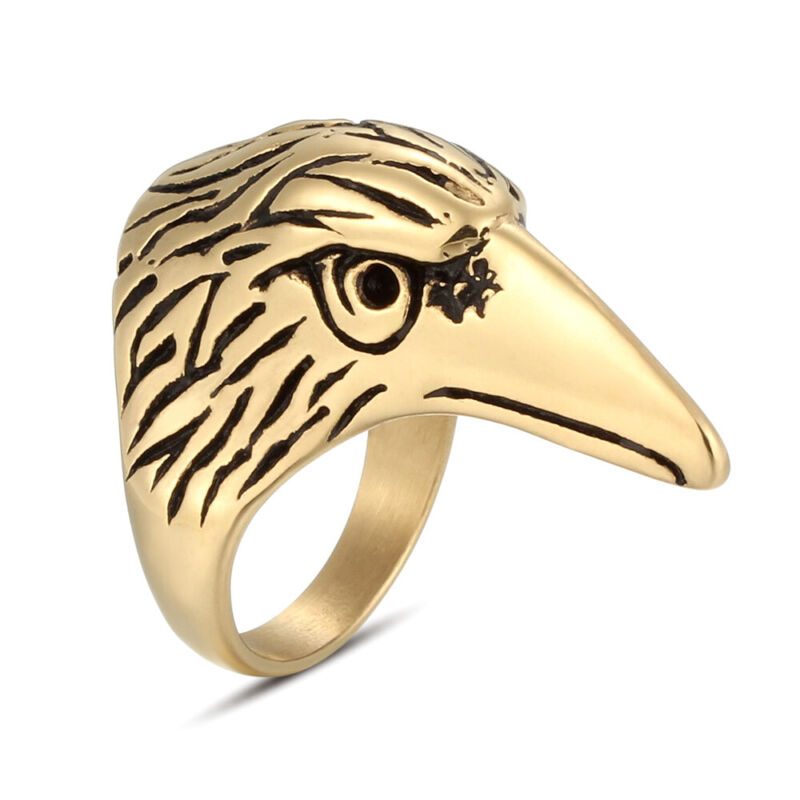 5 Pcs/Lot Stainless Steel Men Boy Plated Gold Fashion Crow Biker Rings Size 8-12