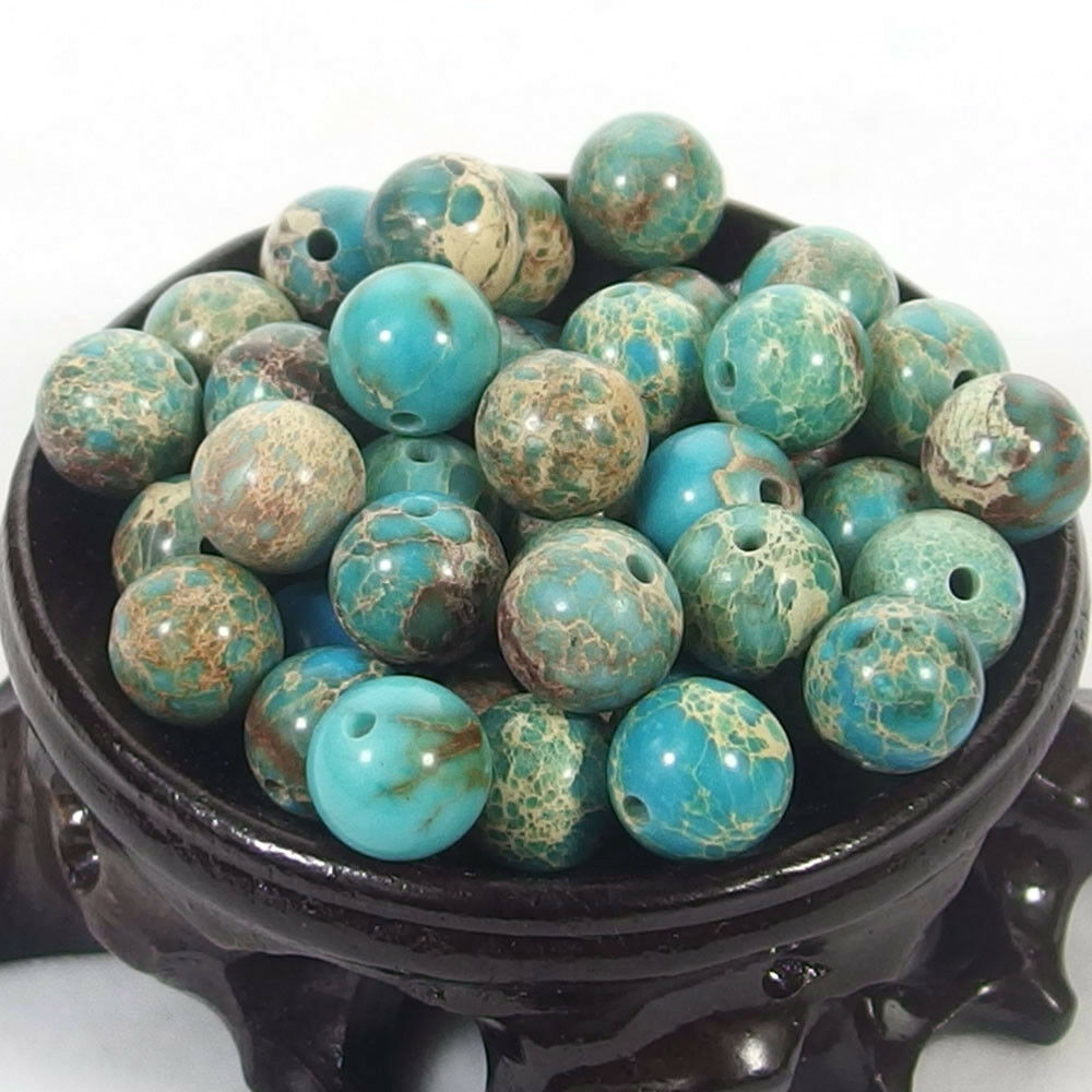 Bulk Gemstones I natural spacer stone beads 4mm 6mm 8mm 10mm 12mm jewelry design light blue sea sediment jasper