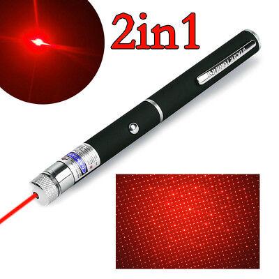 Portable 2in1 Star Mini Handheld Red Laser Pointer Pen 1mW Lazer Pet Cat Dog Toy