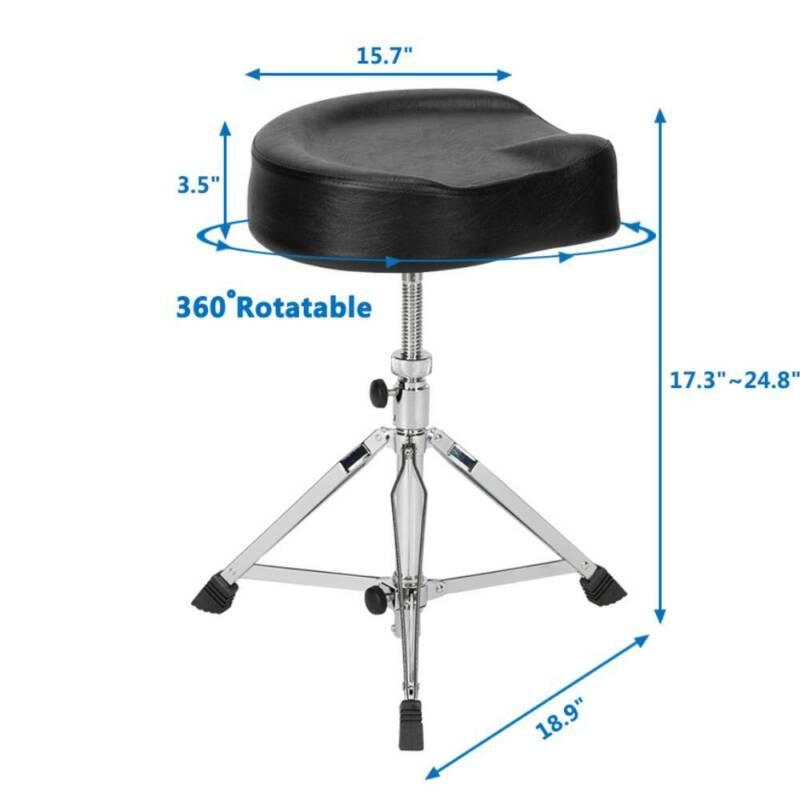 Adjustable Drum Throne Padded Stool Motorcycle Style Drum Chair Black