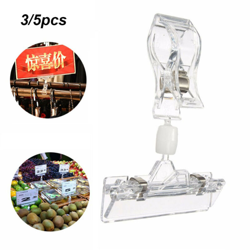 Clamp Transparent Price Label Tag Holders Sign Display POP Advertising Clips